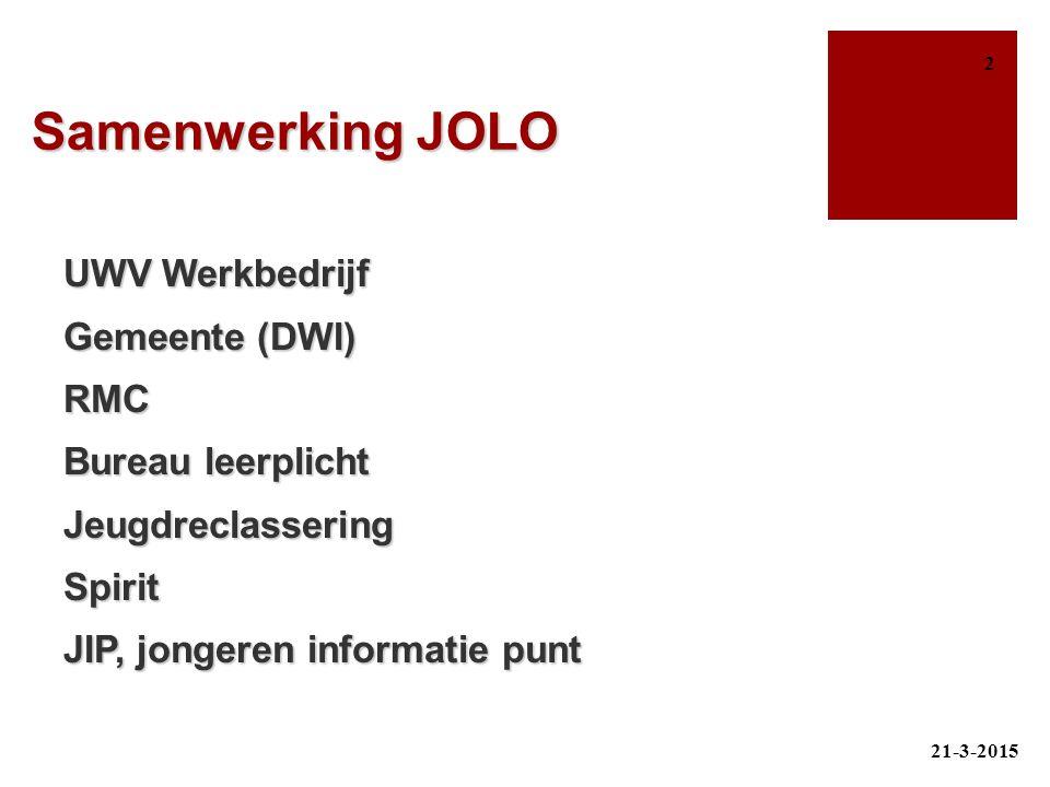 Samenwerking JOLO UWV Werkbedrijf Gemeente (DWI) RMC Bureau leerplicht JeugdreclasseringSpirit JIP, jongeren informatie punt 21-3-2015 2