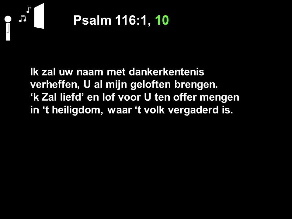 Psalm 116:1, 10 Ik zal uw naam met dankerkentenis verheffen, U al mijn geloften brengen.