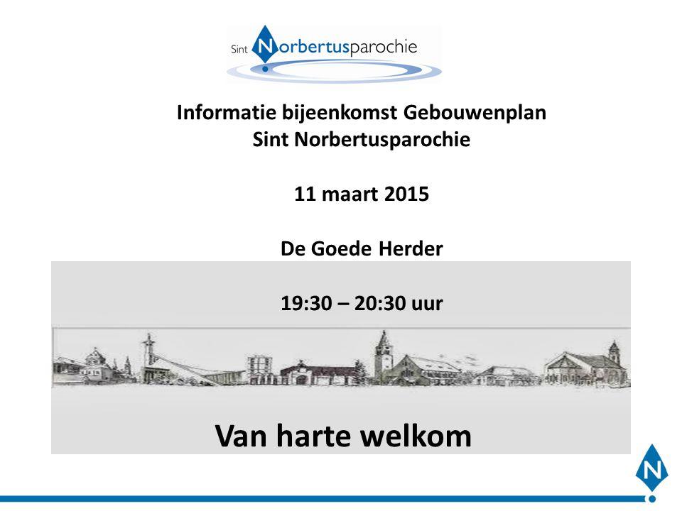 Van harte welkom Informatie bijeenkomst Gebouwenplan Sint Norbertusparochie 11 maart 2015 De Goede Herder 19:30 – 20:30 uur