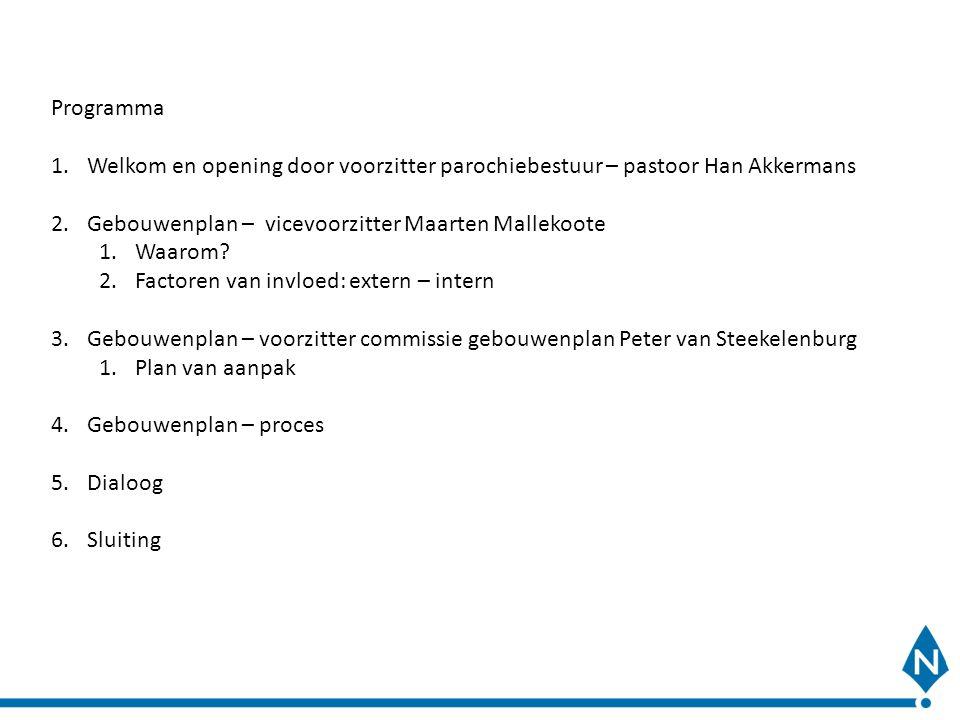 Programma 1.Welkom en opening door voorzitter parochiebestuur – pastoor Han Akkermans 2.Gebouwenplan – vicevoorzitter Maarten Mallekoote 1.Waarom? 2.F