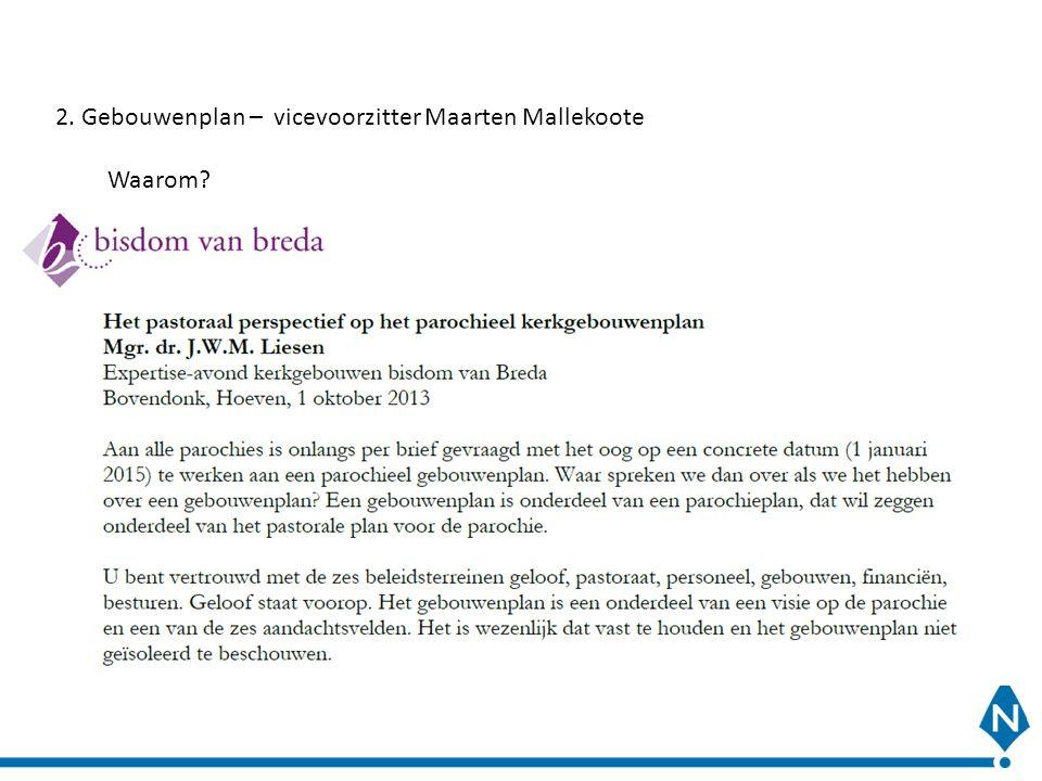 2. Gebouwenplan – vicevoorzitter Maarten Mallekoote Waarom?