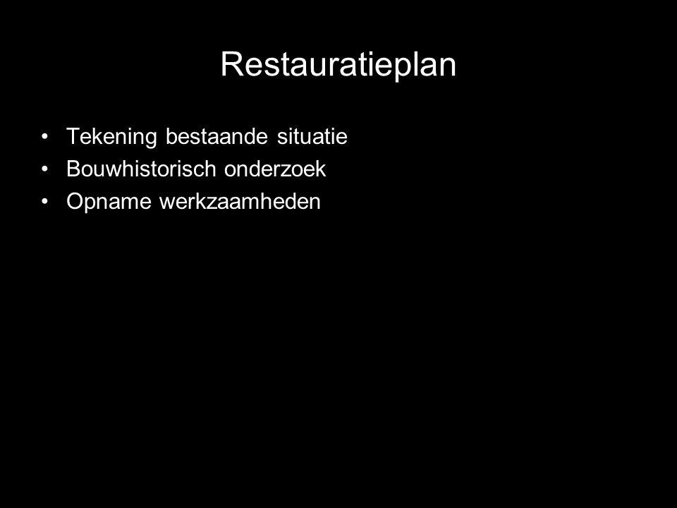 Restauratieplan Tekening bestaande situatie Bouwhistorisch onderzoek Opname werkzaamheden