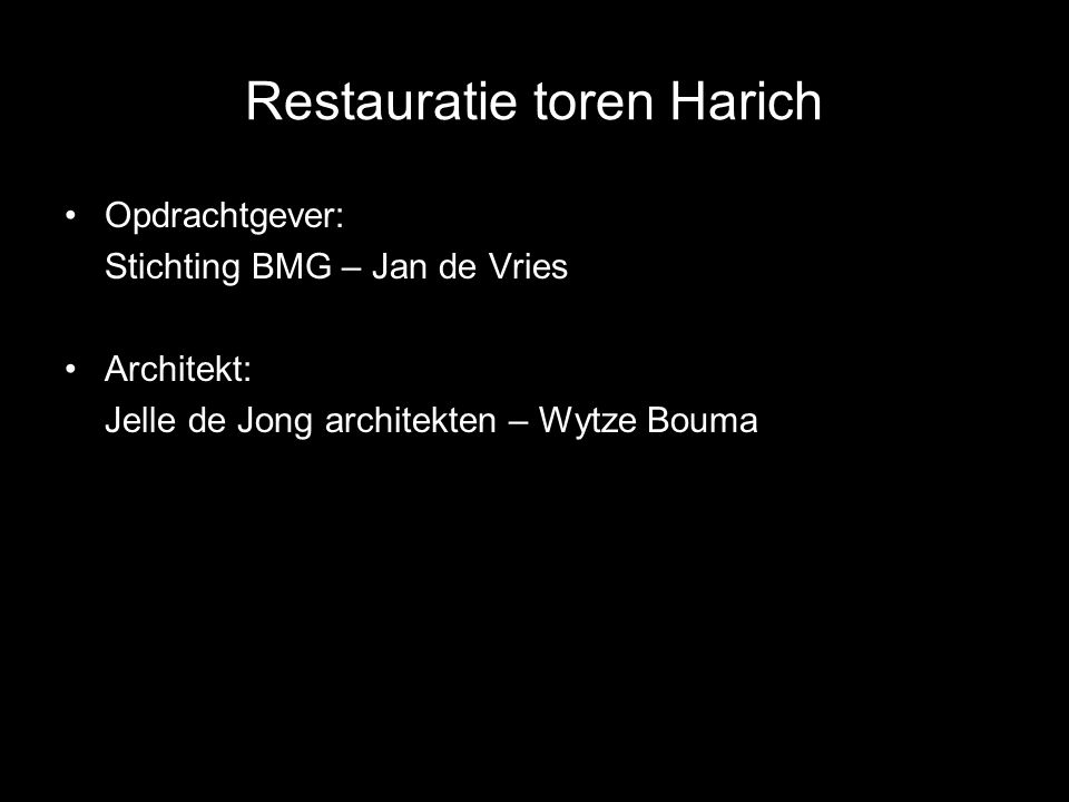 Opdrachtgever: Stichting BMG – Jan de Vries Architekt: Jelle de Jong architekten – Wytze Bouma