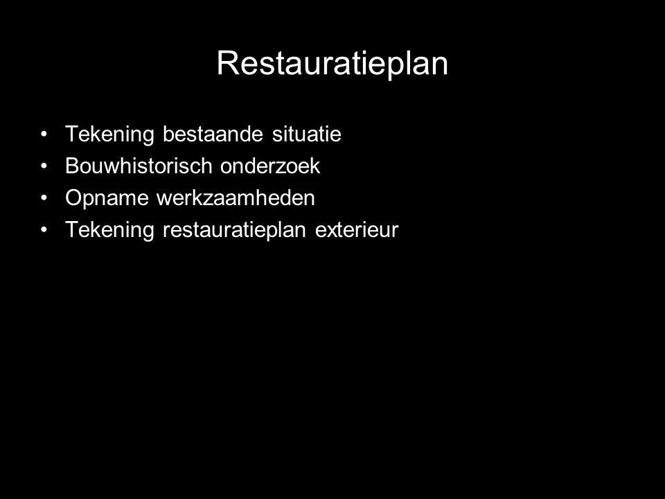 Restauratieplan Tekening bestaande situatie Bouwhistorisch onderzoek Opname werkzaamheden Tekening restauratieplan exterieur