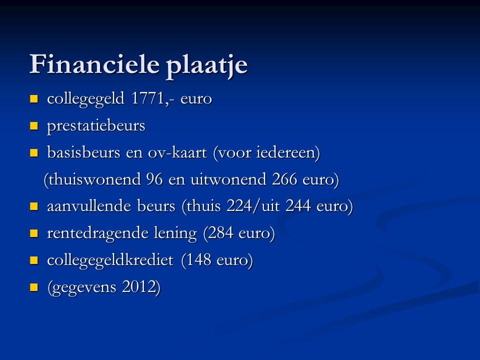 Financiele plaatje collegegeld 1771,- euro collegegeld 1771,- euro prestatiebeurs prestatiebeurs basisbeurs en ov-kaart (voor iedereen) basisbeurs en