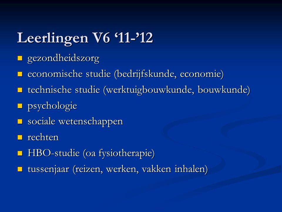 Leerlingen V6 '11-'12 gezondheidszorg gezondheidszorg economische studie (bedrijfskunde, economie) economische studie (bedrijfskunde, economie) techni