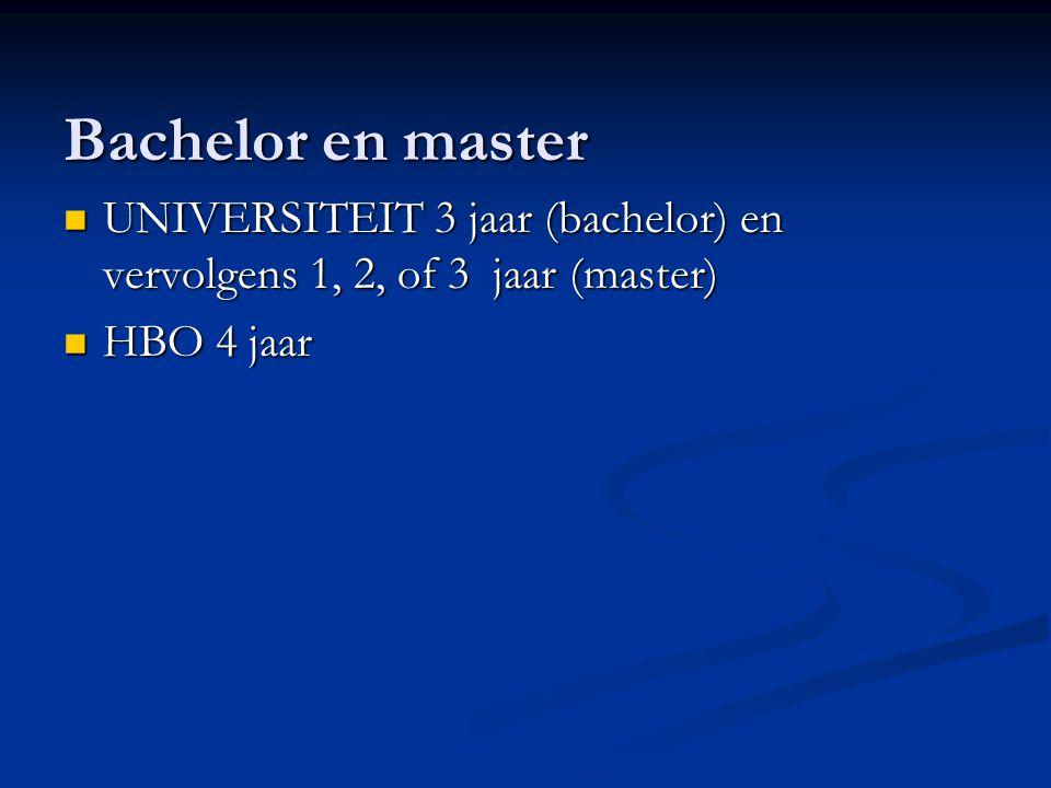 Bachelor en master UNIVERSITEIT 3 jaar (bachelor) en vervolgens 1, 2, of 3 jaar (master) UNIVERSITEIT 3 jaar (bachelor) en vervolgens 1, 2, of 3 jaar (master) HBO 4 jaar HBO 4 jaar