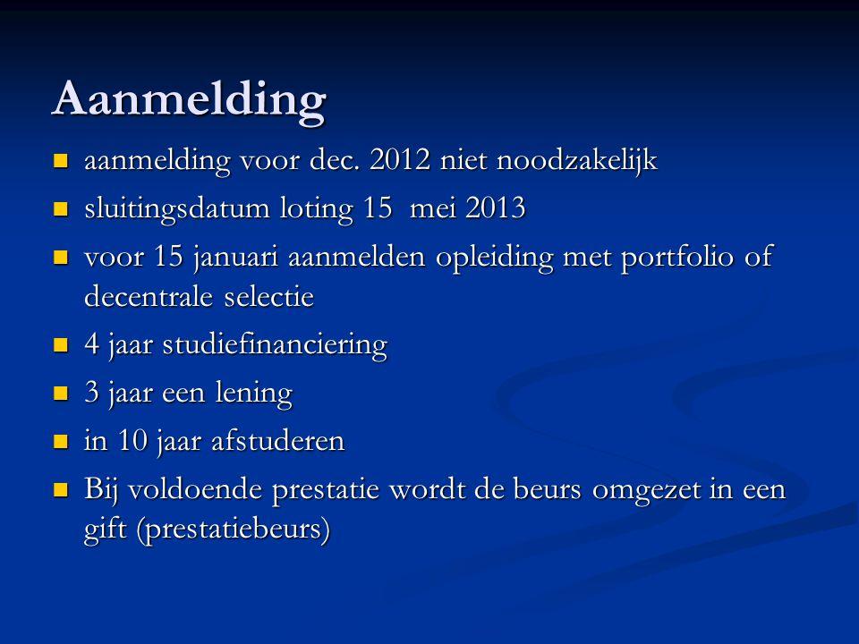 Aanmelding aanmelding voor dec. 2012 niet noodzakelijk aanmelding voor dec.