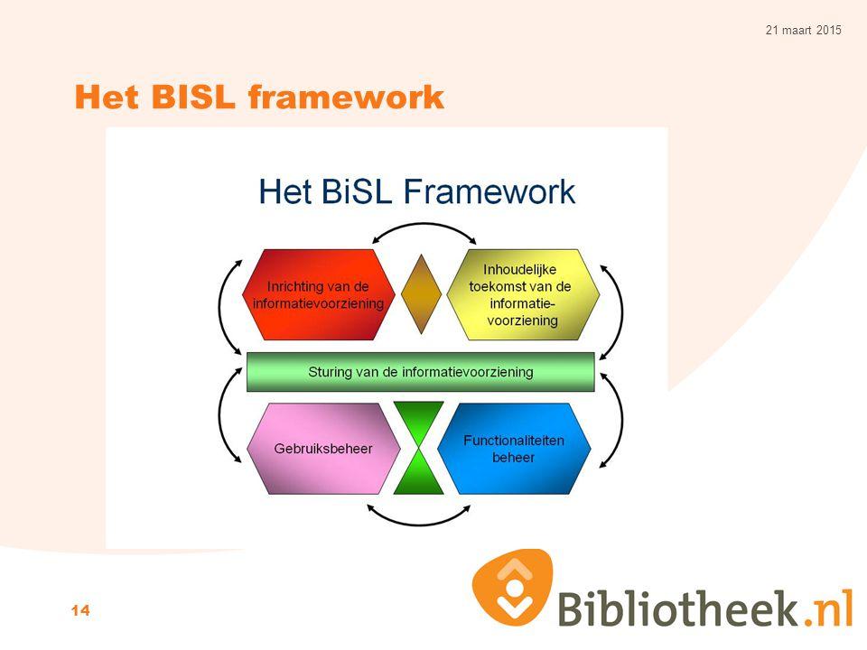 Het BISL framework 21 maart 2015 14
