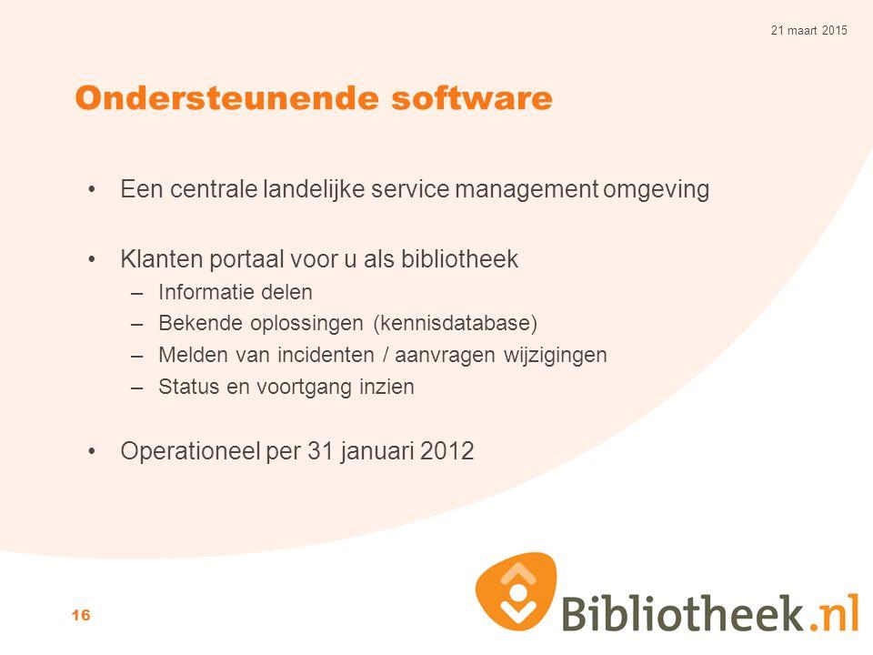 Ondersteunende software Een centrale landelijke service management omgeving Klanten portaal voor u als bibliotheek –Informatie delen –Bekende oplossin