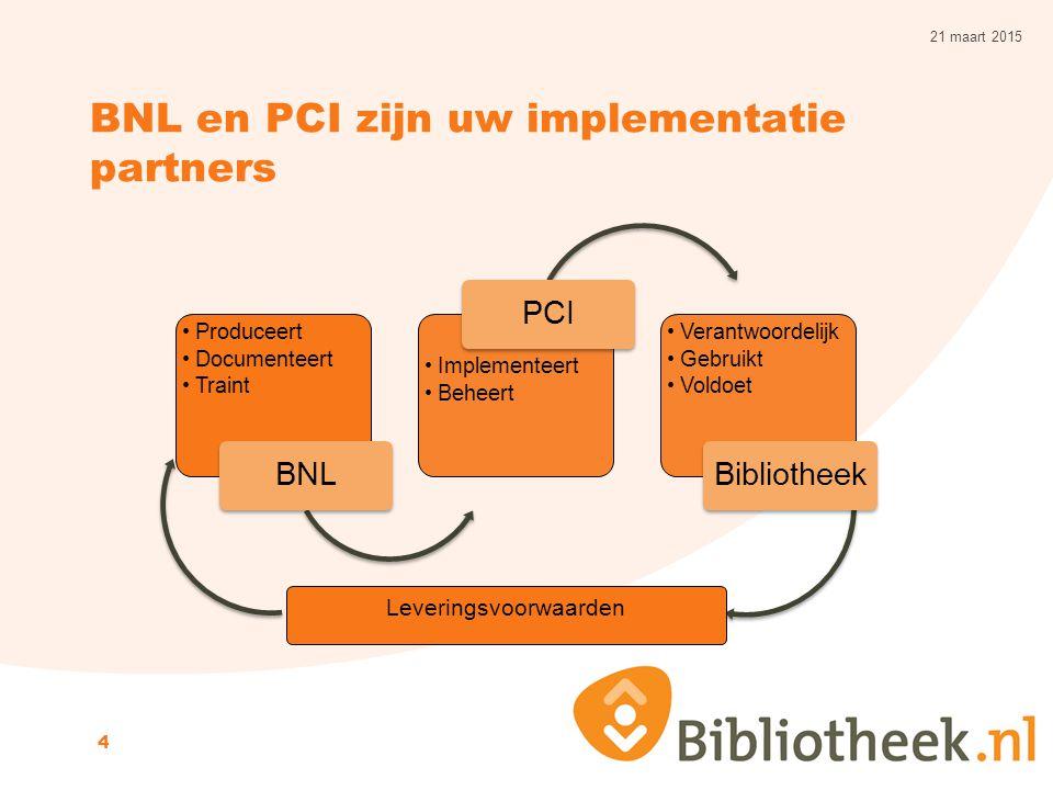 BNL en PCI zijn uw implementatie partners 21 maart 2015 4 Produceert Documenteert Traint BNL Implementeert Beheert PCI Verantwoordelijk Gebruikt Voldo