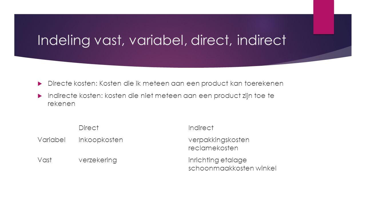 Indeling vast, variabel, direct, indirect  Directe kosten: Kosten die ik meteen aan een product kan toerekenen  Indirecte kosten: kosten die niet me