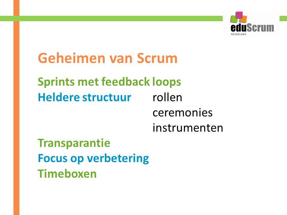 Geheimen van Scrum Sprints met feedback loops Heldere structuurrollen ceremonies instrumenten Transparantie Focus op verbetering Timeboxen