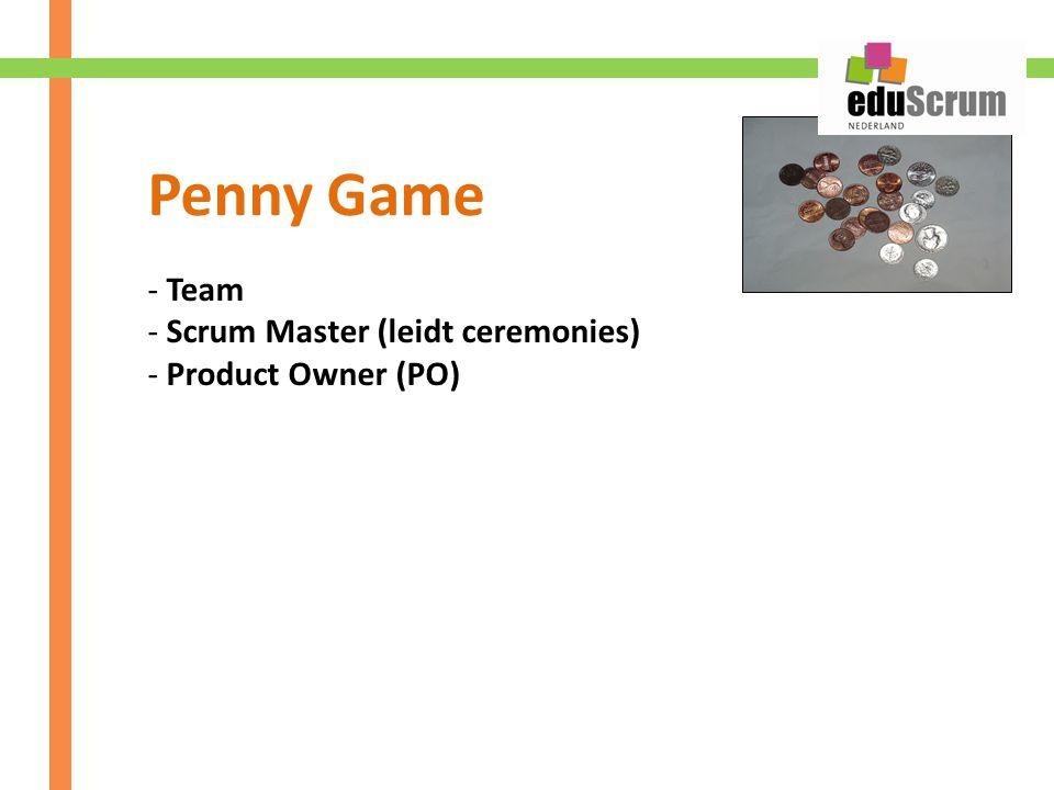 - Team - Scrum Master (leidt ceremonies) - Product Owner (PO) Penny Game