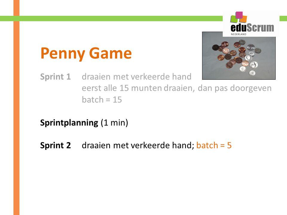 Sprint 1 draaien met verkeerde hand eerst alle 15 munten draaien, dan pas doorgeven batch = 15 Sprintplanning (1 min) Sprint 2 draaien met verkeerde hand; batch = 5 Penny Game