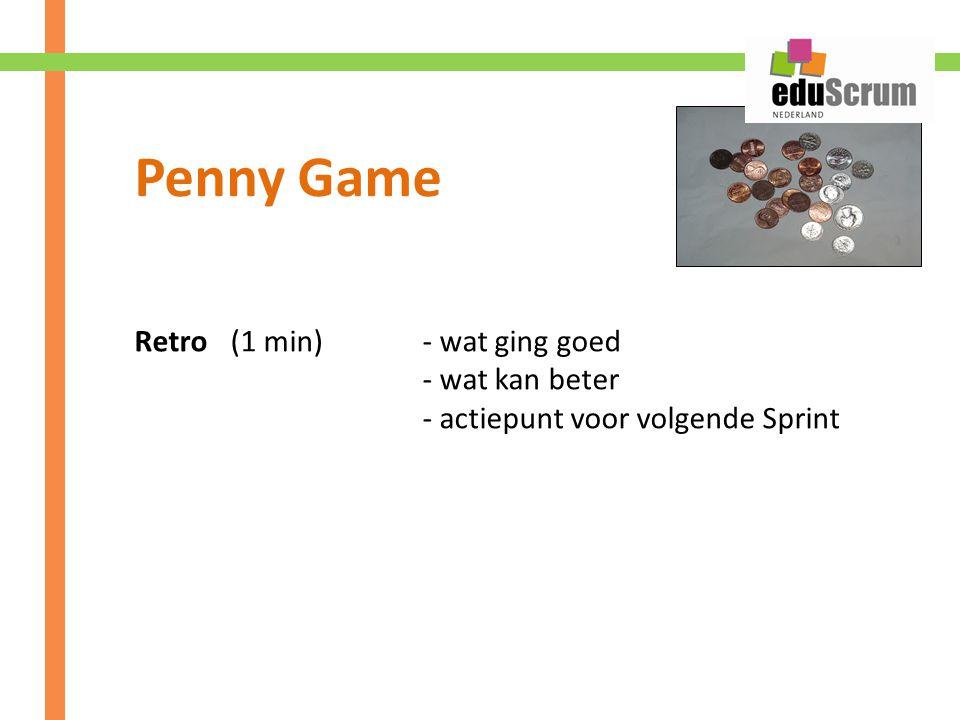 Retro(1 min)- wat ging goed - wat kan beter - actiepunt voor volgende Sprint
