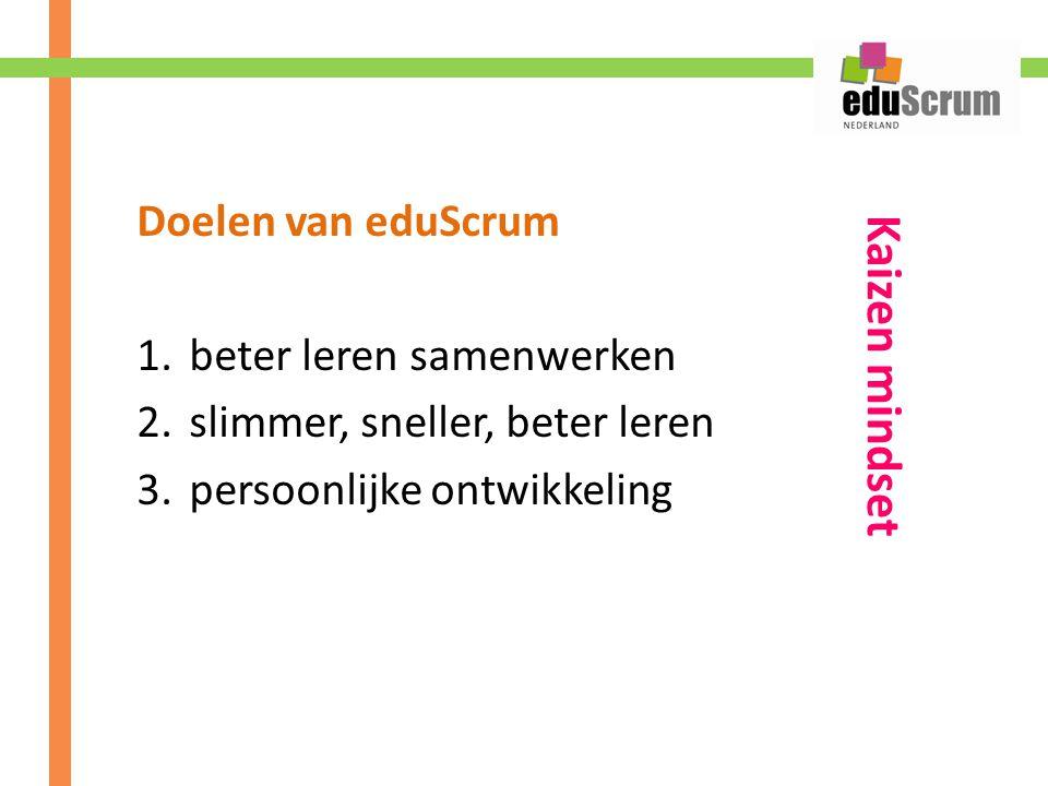 Doelen van eduScrum 1.beter leren samenwerken 2.slimmer, sneller, beter leren 3.persoonlijke ontwikkeling Kaizen mindset