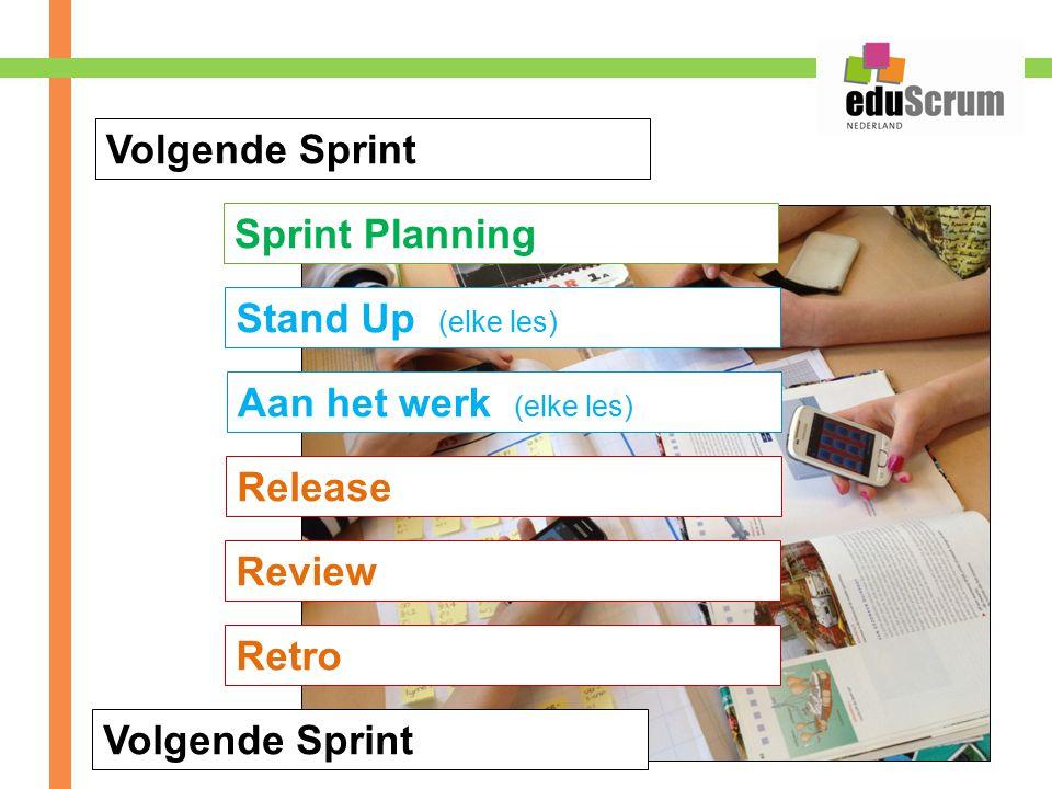 Volgende Sprint Sprint Planning Stand Up (elke les) Aan het werk (elke les) Release Review Volgende Sprint Retro