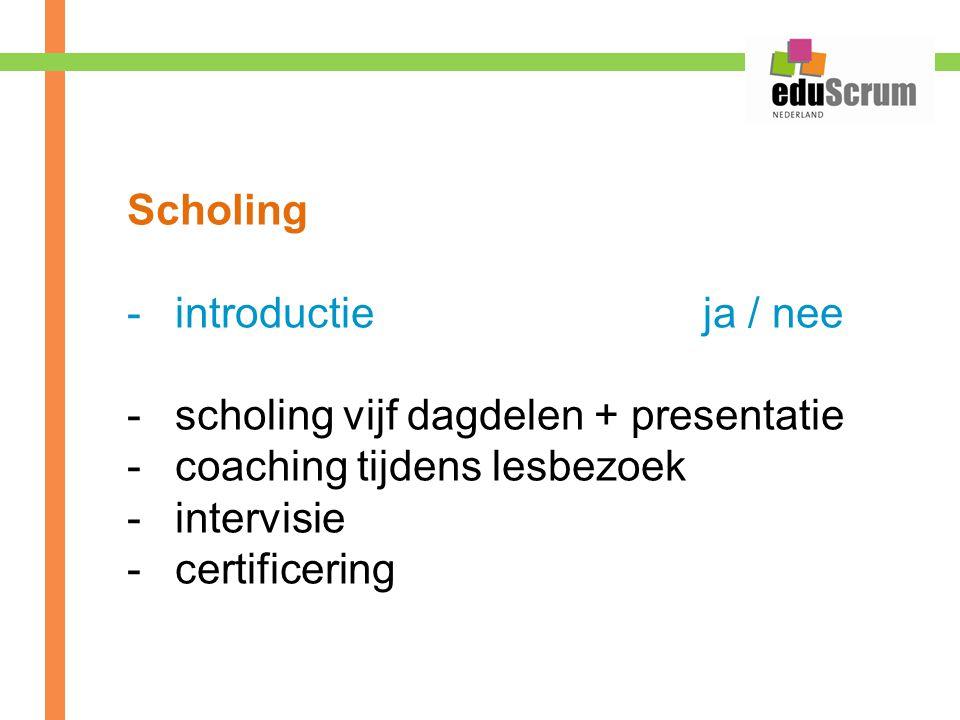 Scholing -introductie ja / nee -scholing vijf dagdelen + presentatie -coaching tijdens lesbezoek -intervisie -certificering