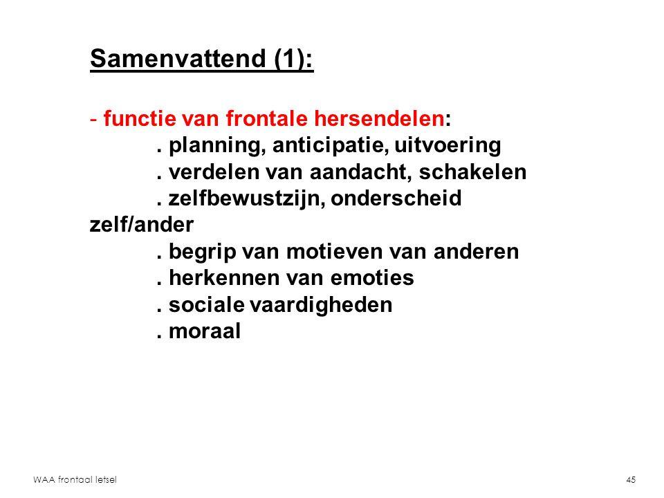 WAA frontaal letsel46 Samenvattend (2): - casuistiek:.