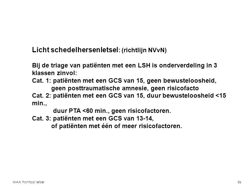 WAA frontaal letsel57 Risicofactoren t.a.v.