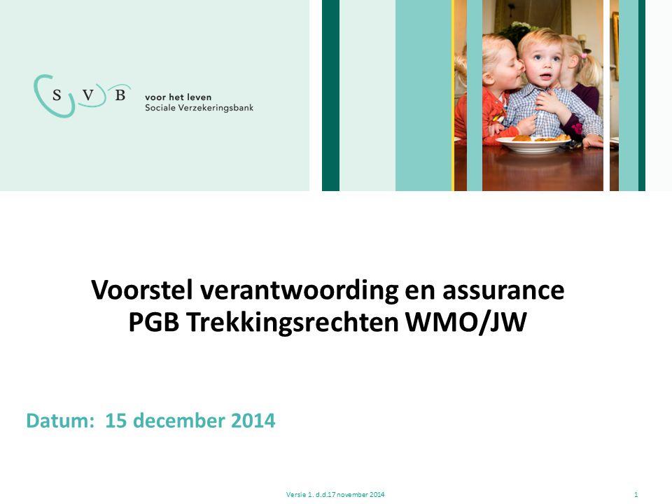 Voorstel verantwoording en assurance PGB Trekkingsrechten WMO/JW Versie 1. d.d.17 november 20141 Datum: 15 december 2014