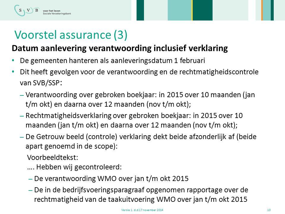 Voorstel assurance (3) Datum aanlevering verantwoording inclusief verklaring De gemeenten hanteren als aanleveringsdatum 1 februari Dit heeft gevolgen