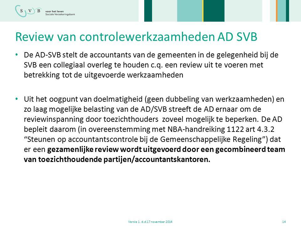 Review van controlewerkzaamheden AD SVB De AD-SVB stelt de accountants van de gemeenten in de gelegenheid bij de SVB een collegiaal overleg te houden