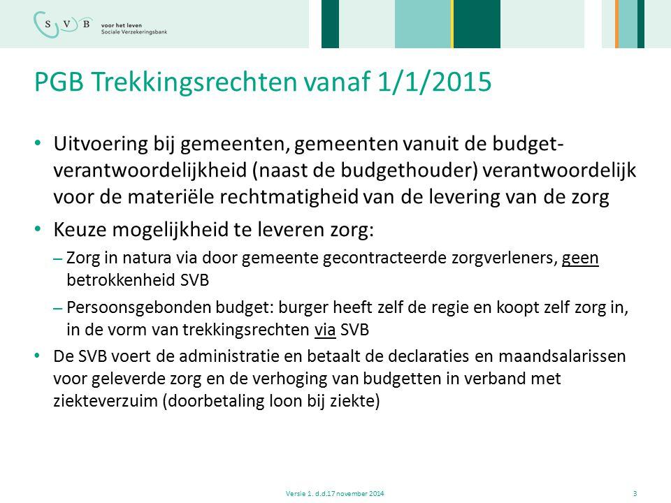 PGB Trekkingsrechten vanaf 1/1/2015 Uitvoering bij gemeenten, gemeenten vanuit de budget- verantwoordelijkheid (naast de budgethouder) verantwoordelij