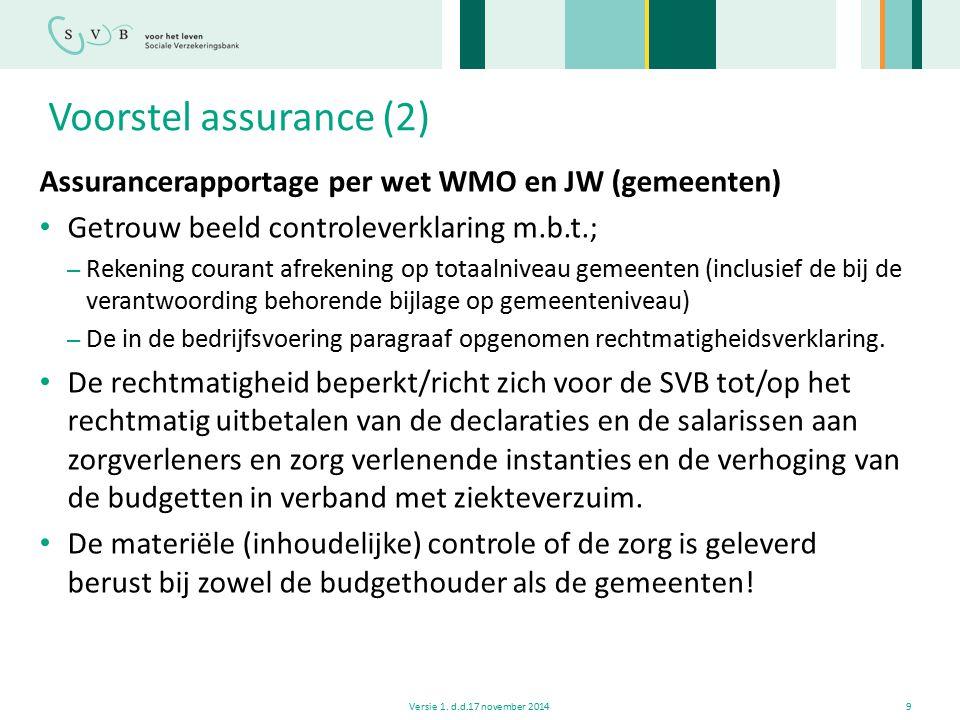 Voorstel assurance (2) Assurancerapportage per wet WMO en JW (gemeenten) Getrouw beeld controleverklaring m.b.t.; – Rekening courant afrekening op tot