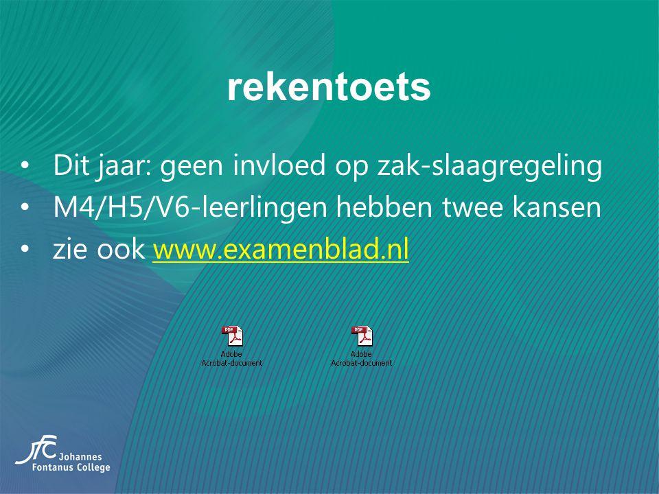rekentoets Dit jaar: geen invloed op zak-slaagregeling M4/H5/V6-leerlingen hebben twee kansen zie ook www.examenblad.nlwww.examenblad.nl