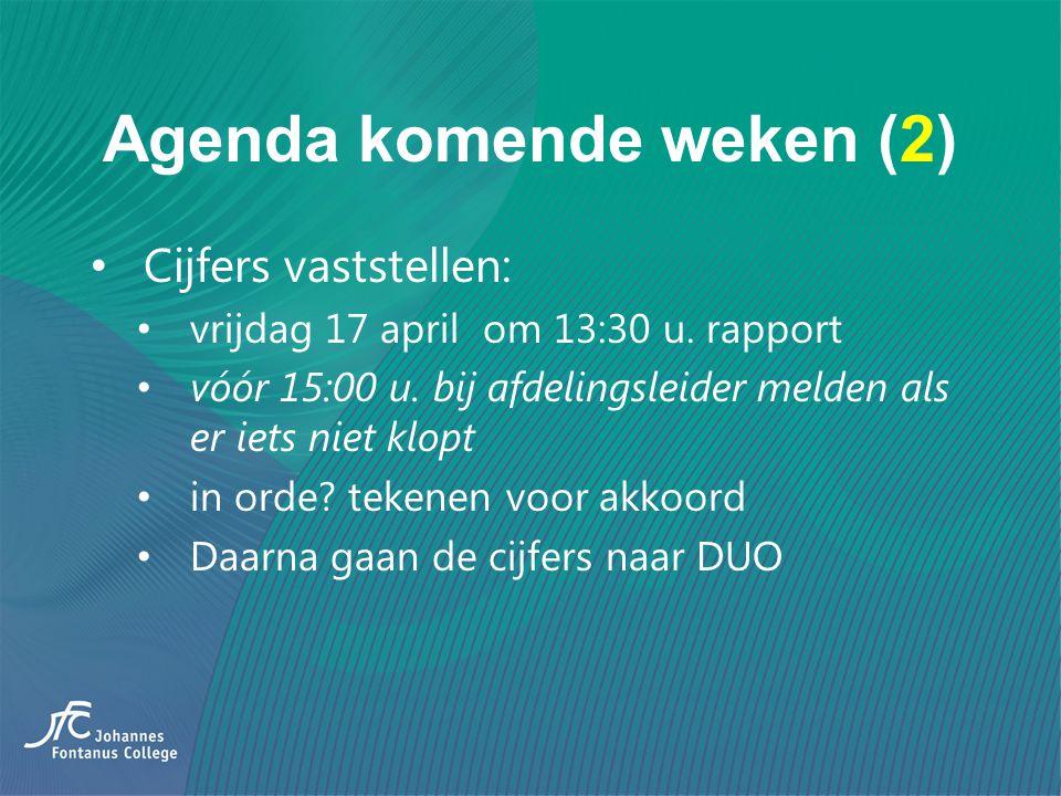 Agenda komende weken (2) Cijfers vaststellen: vrijdag 17 april om 13:30 u. rapport vóór 15:00 u. bij afdelingsleider melden als er iets niet klopt in