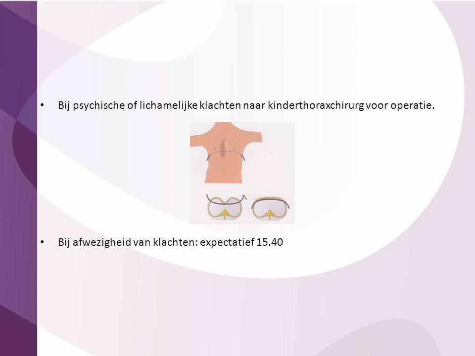 Bij psychische of lichamelijke klachten naar kinderthoraxchirurg voor operatie. Bij afwezigheid van klachten: expectatief 15.40