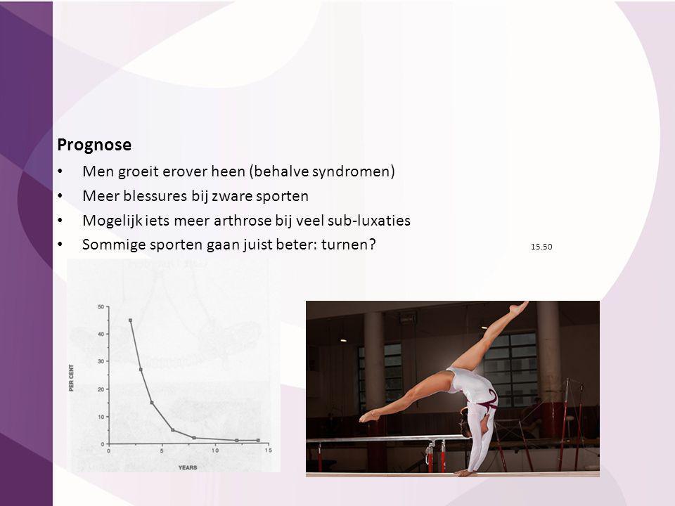 Prognose Men groeit erover heen (behalve syndromen) Meer blessures bij zware sporten Mogelijk iets meer arthrose bij veel sub-luxaties Sommige sporten