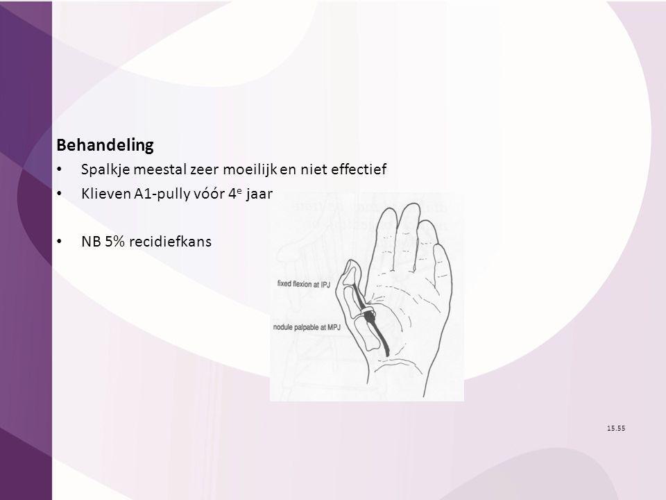 Behandeling Spalkje meestal zeer moeilijk en niet effectief Klieven A1-pully vóór 4 e jaar NB 5% recidiefkans 15.55