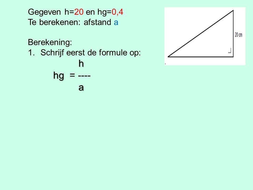 Gegeven h=20 en hg=0,4 Te berekenen: afstand a Berekening: 1.Schrijf eerst de formule op: h hg hg = ---- a