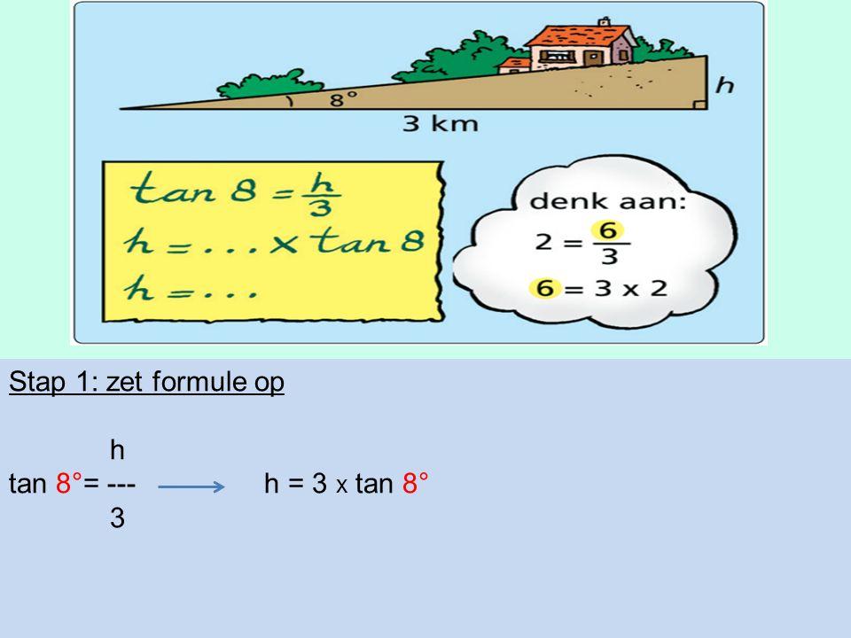 Stap 1: zet formule op h tan 8°= --- h = 3 x tan 8° 3