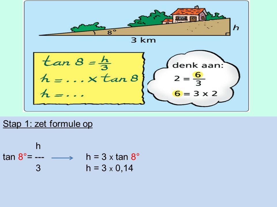 Stap 1: zet formule op h tan 8°= --- h = 3 x tan 8° 3h = 3 x 0,14