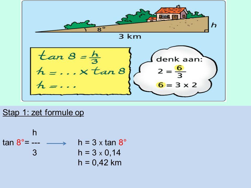 Stap 1: zet formule op h tan 8°= --- h = 3 x tan 8° 3h = 3 x 0,14 h = 0,42 km