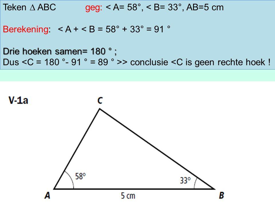 Teken ∆ ABCgeg: < A= 58°, < B= 33°, AB=5 cm Berekening:< A + < B = 58° + 33° = 91 ° Drie hoeken samen= 180 ° ; Dus > conclusie <C is geen rechte hoek