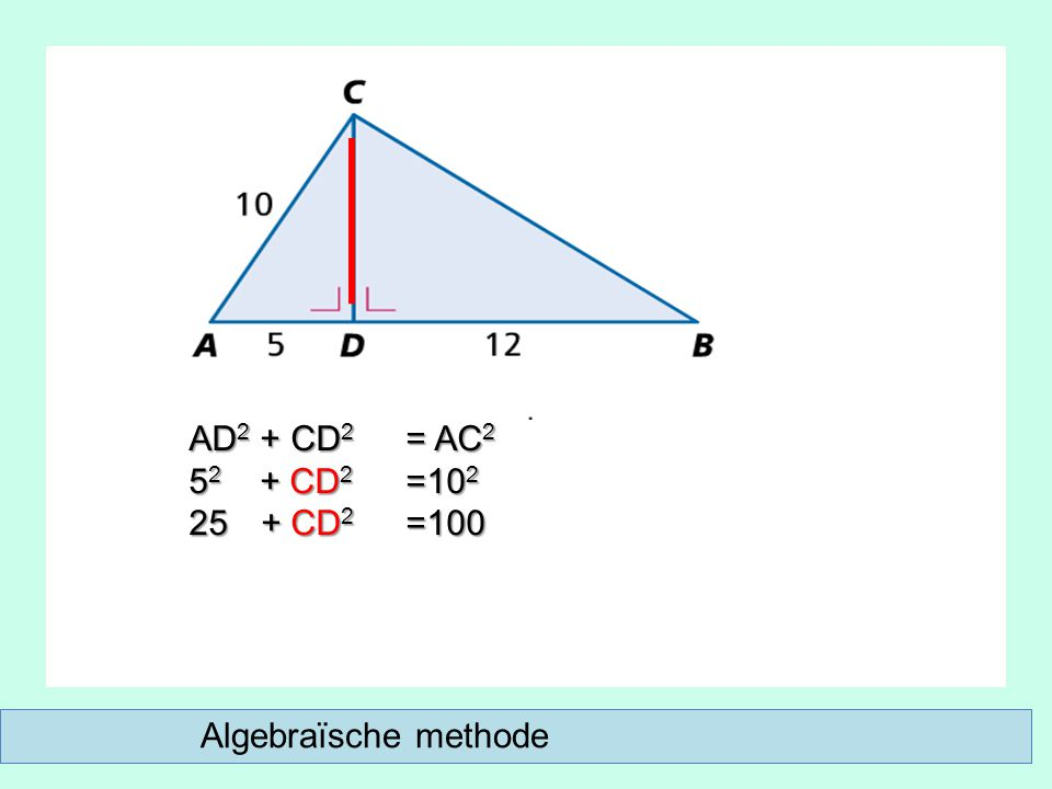 Algebraïsche methode AD 2 + CD 2 = AC 2 5 2 + CD 2 =10 2 25 + CD 2 =100