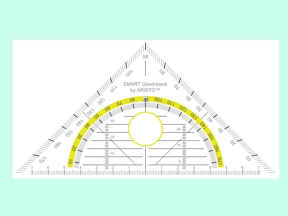 Teken ∆ KLM geg: < K= 14°, < L= 76°, KL=8 cm Berekening:< K+ < L = 14° + 76° = 90 ° Drie hoeken samen = 180 ° ; Dus > conclusie < M is een rechte hoek !