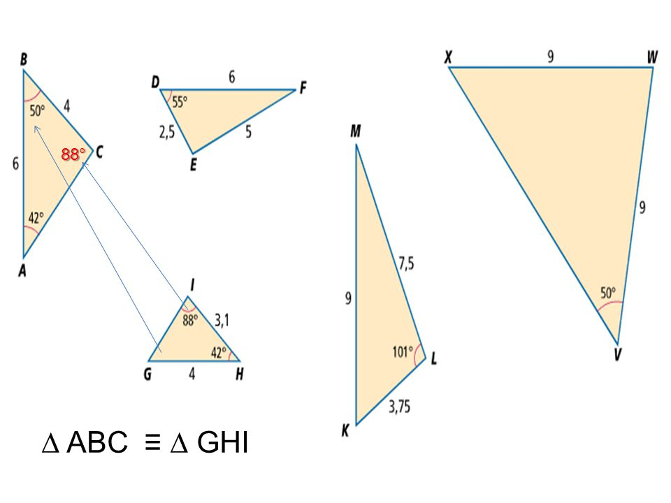 88° ∆ ABC ≡ ∆ GHI