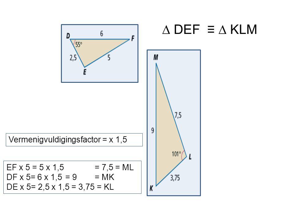 EF x 5 = 5 x 1,5 = 7,5 = ML DF x 5= 6 x 1,5= 9= MK DE x 5= 2,5 x 1,5 = 3,75 = KL Vermenigvuldigingsfactor = x 1,5 ∆ DEF ≡ ∆ KLM