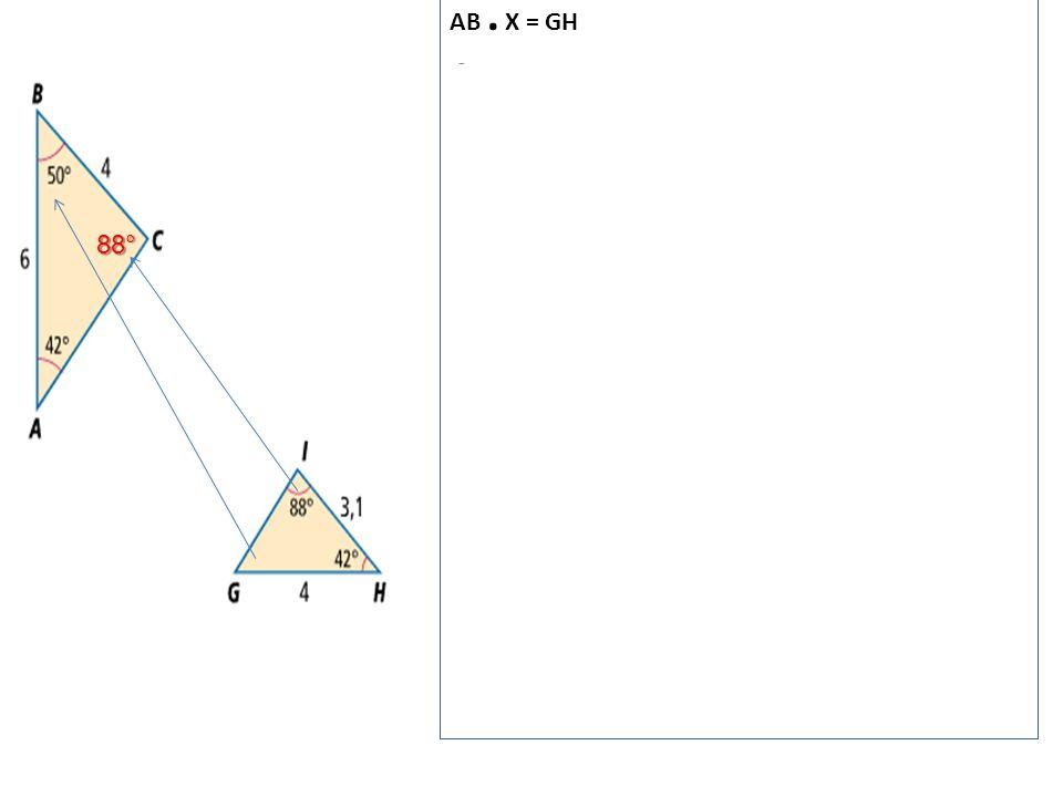 88° AB. X = GH 6. X = 4 4 2 x = ----- = ----- = 2/3 = vermenigvuldigingsfactor 6 3 BC. X = GI 4. X = GI 4. 2/3 = GI 8/3 = GI 2 2/3 = GI