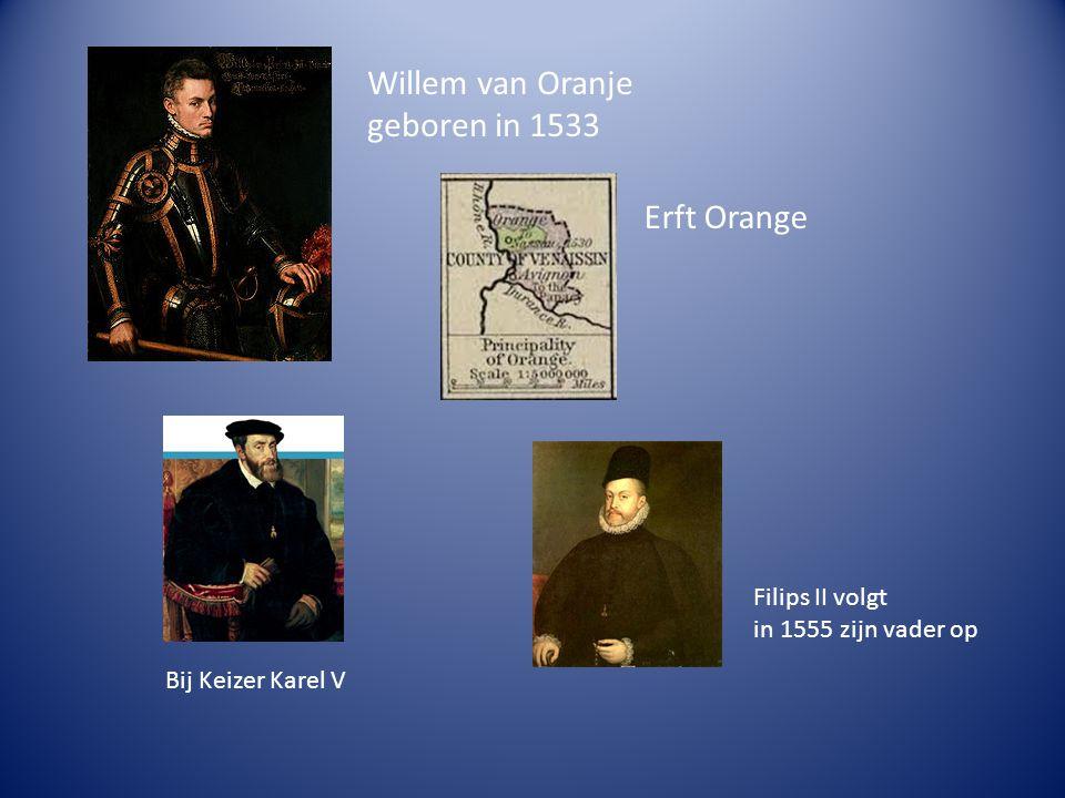 Willem van Oranje geboren in 1533 Erft Orange Bij Keizer Karel V Filips II volgt in 1555 zijn vader op