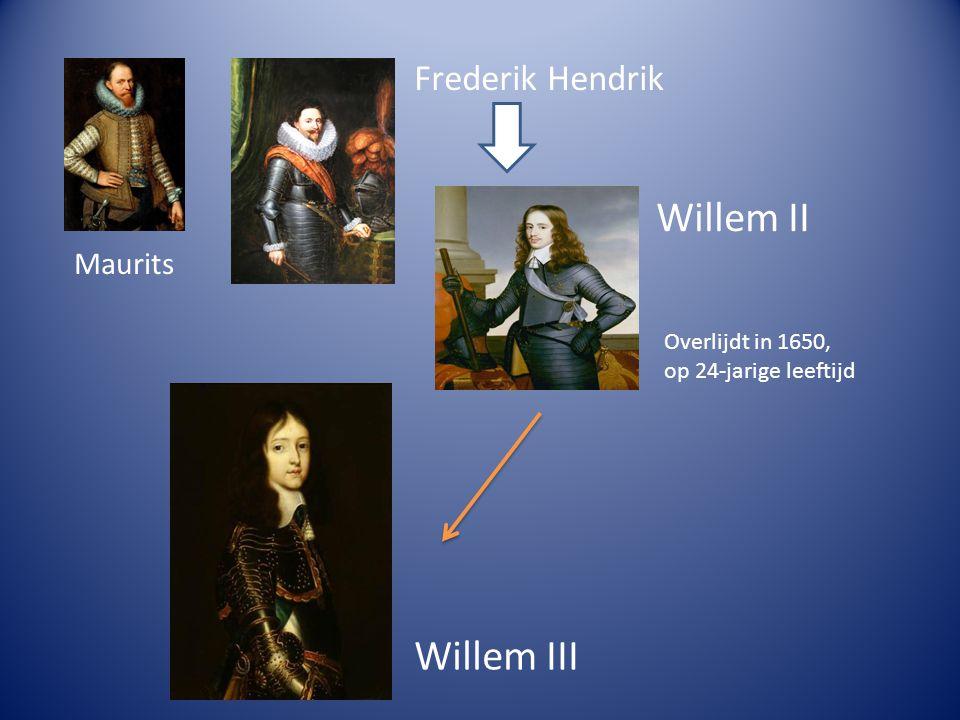 Maurits Frederik Hendrik Willem II Overlijdt in 1650, op 24-jarige leeftijd Willem III