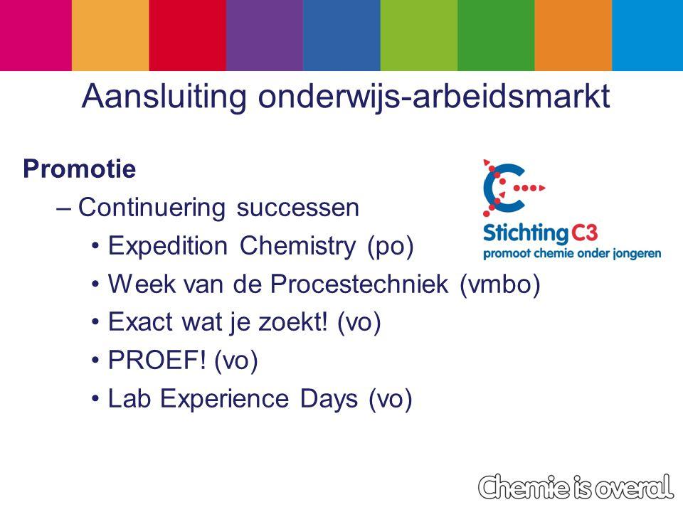 Aansluiting onderwijs-arbeidsmarkt Promotie –Continuering successen Expedition Chemistry (po) Week van de Procestechniek (vmbo) Exact wat je zoekt.