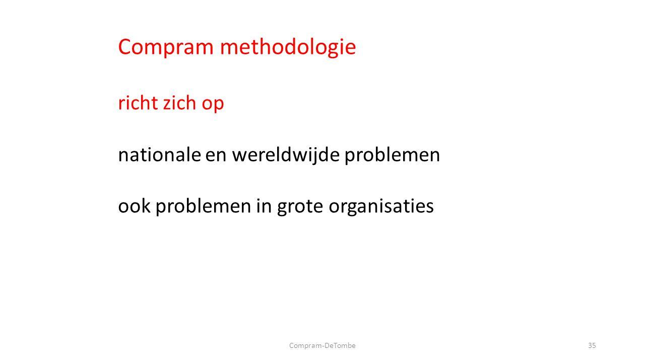 Compram-DeTombe35 Compram methodologie richt zich op nationale en wereldwijde problemen ook problemen in grote organisaties