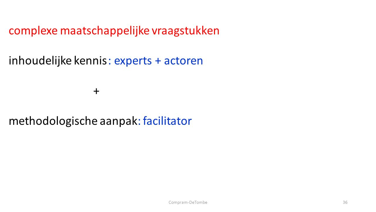 Compram-DeTombe36 complexe maatschappelijke vraagstukken inhoudelijke kennis : experts + actoren + methodologische aanpak: facilitator